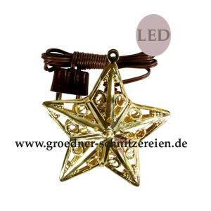 Stern Metall gold mit LED